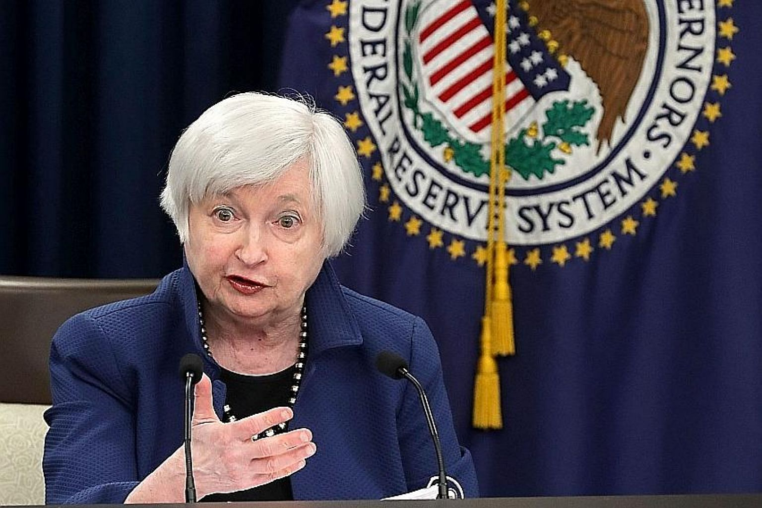 US Federal Reserve chairman Janet Yellen speaking to the media in Washington on Wednesday after the Fed raised interest rates by one quarter of a percentage point, the second hike in three months.