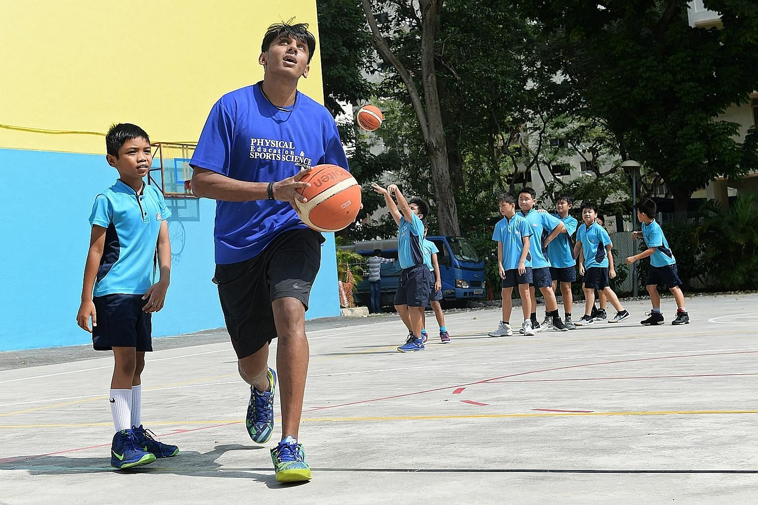 First Toa Payoh Primary School teacher Joel Prathiev Vinson, who has been in the profession for more than six years, tries to use his PE lessons to inculcate good values and life skills in his young charges.