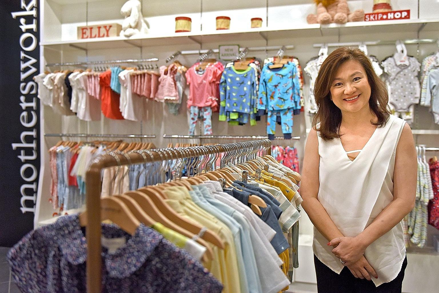 """Ms Wong started Motherswork almost 20 years ago when she had her first child. It has four stores in Singapore and eight in China. Last year's retail slowdown prompted her to scale back on new stores, and she used the downtime """"to look at areas we're"""