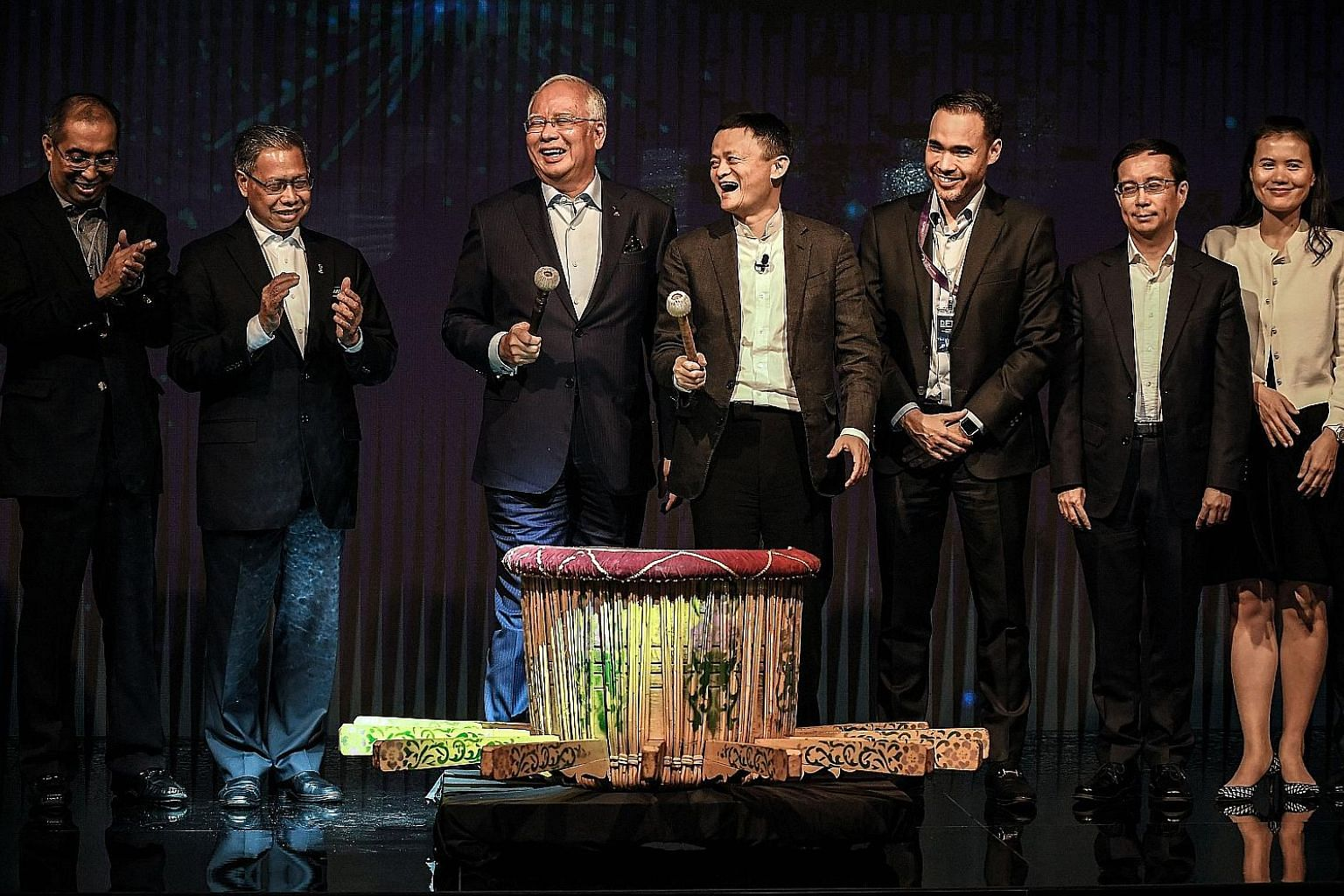 PM Najib and Mr Ma (holding microphones) launched Malaysia's Digital Free Trade Zone yesterday.