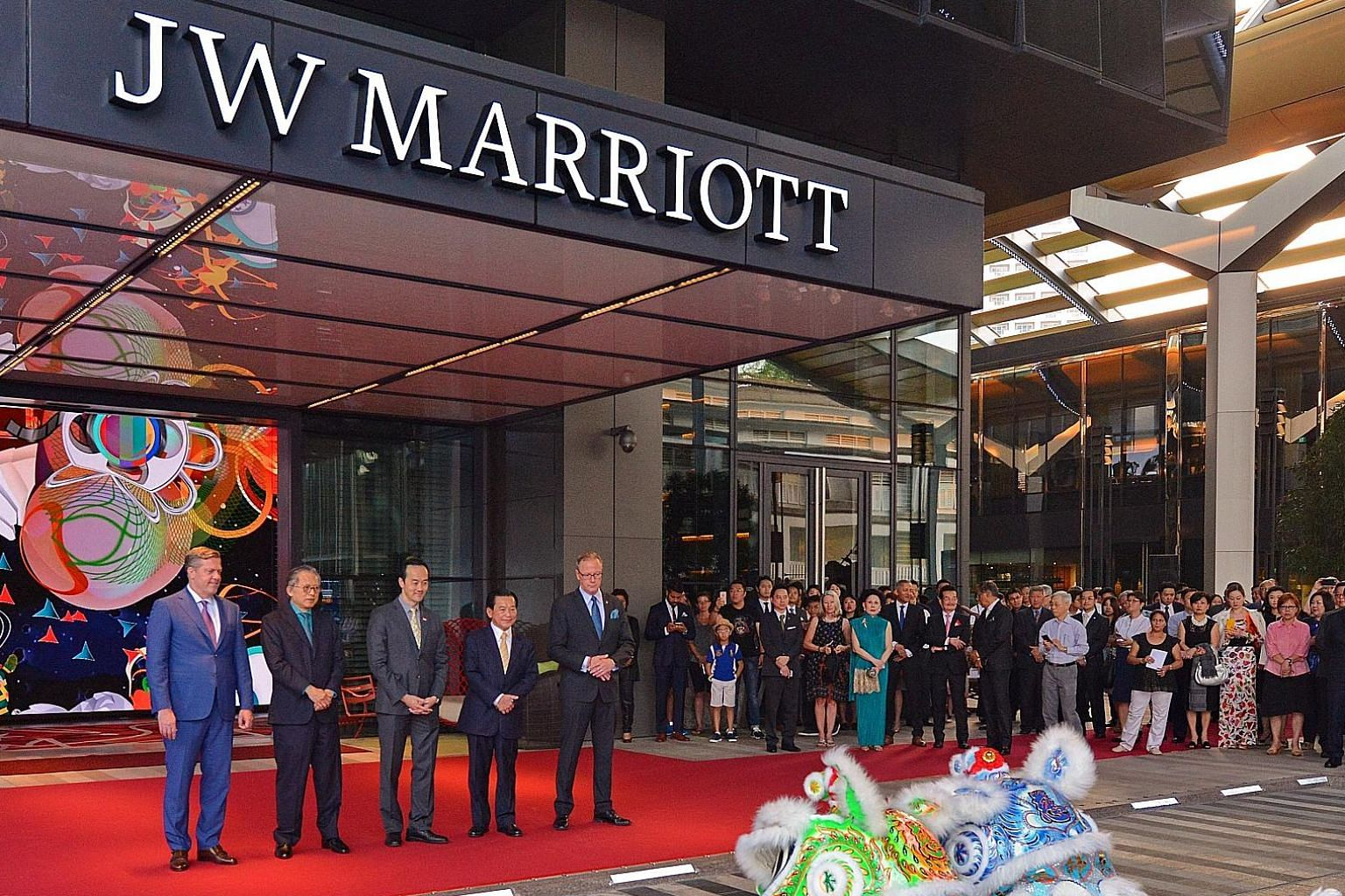 Minister of State for Trade and Industry Koh Poh Koon (third from left) says an Industry Transformation Map for the hotel sector was launched last year to tackle challenges such as manpower constraints. JW Marriott is tapping technology to track and