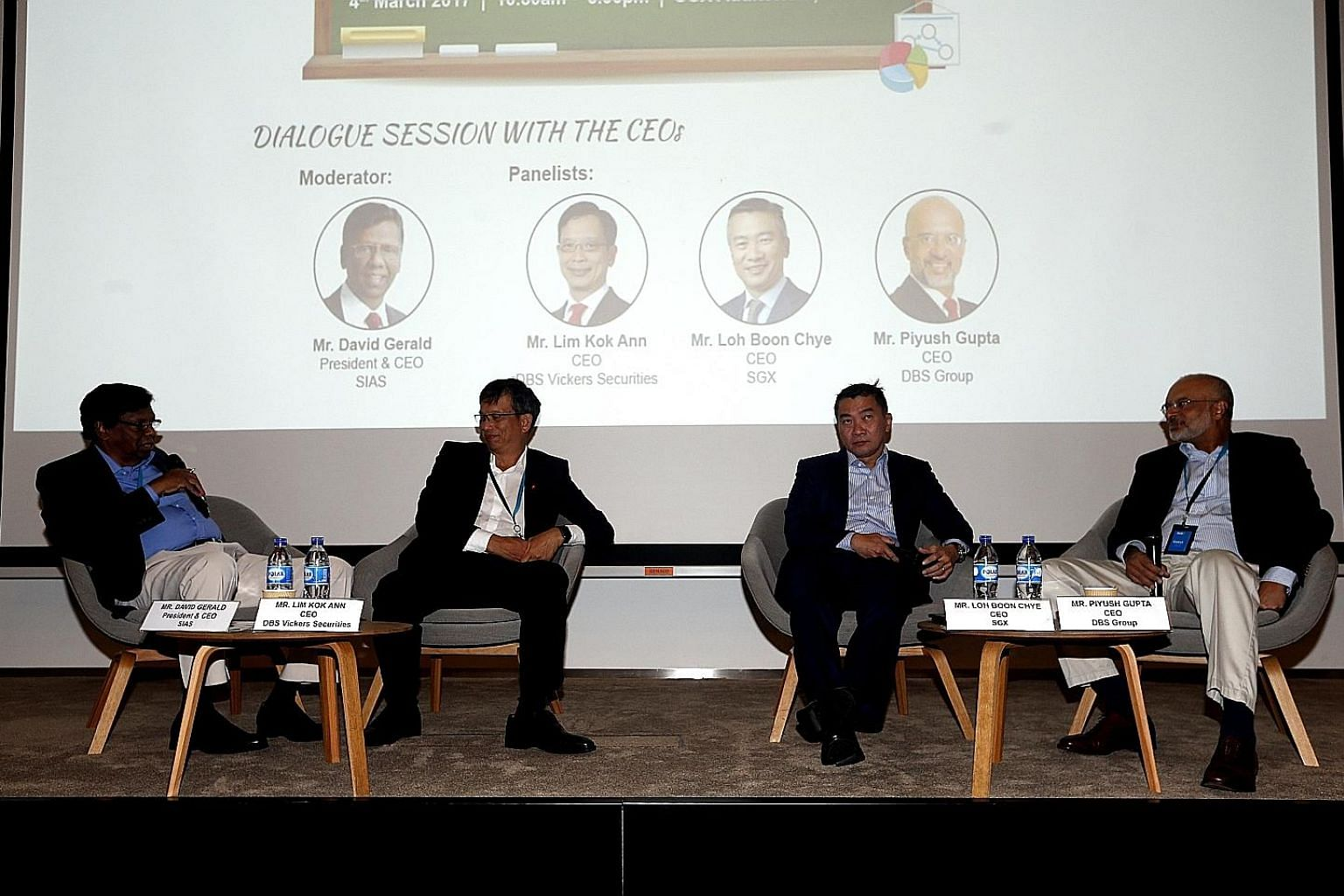 A seminar for young people to learn the ropes of investing from a panel of financial bigwigs drew a 250-strong crowd. From left are Sias founder president and panel moderator David Gerald, DBS Vickers Securities chief executive Lim Kok Ann, SGX chief