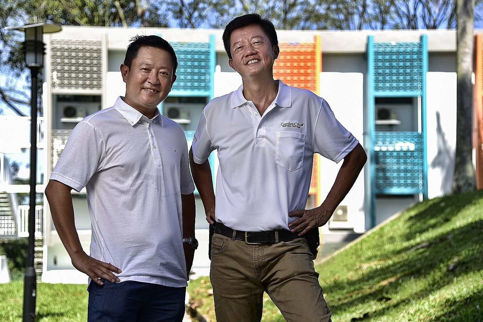 Garden City Management CEO Kelvin Low (left) hired 57-year-old Mr Kenneth Lee, who has a degree in business administration and is also a qualified fire safety manager, as he had the relevant skills.