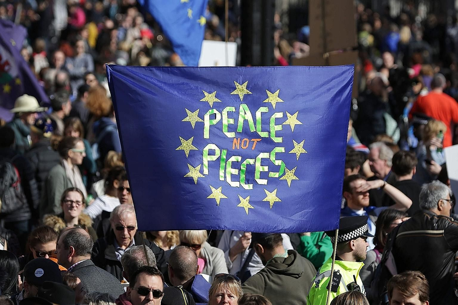 Demonstrators during an anti-Brexit, pro-EU march in central London on Saturday, ahead of the British government's planned triggering of Article 50 to kickstart formal Brexit proceedings.