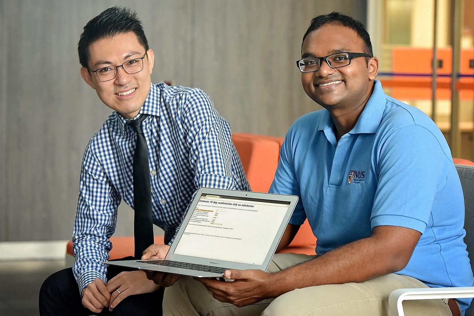 Associate Professor Alexandre Chan and PhD candidate Sreemanee Raaj Dorajoo with the Web tool that can predict a person's risk of ending up in hospital again.