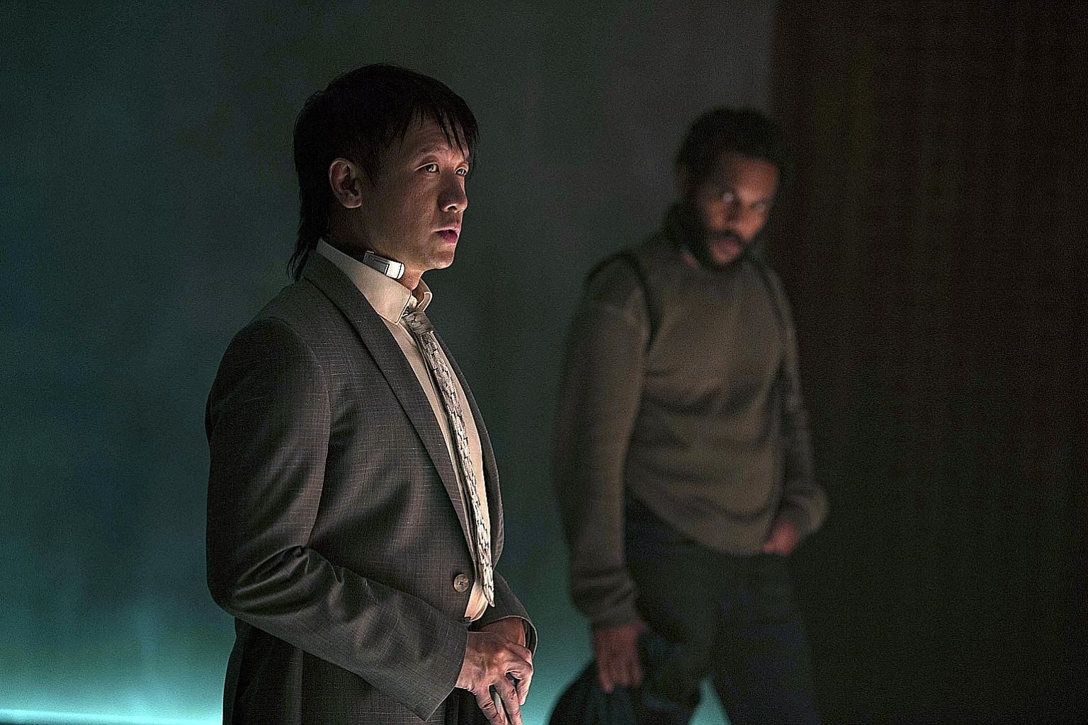 Singaporean actor Ng Chin Han plays anti-terrorist operative Togusa in Ghost In The Shell. With him is Lasarus Ratuere, who plays Ishikawa.