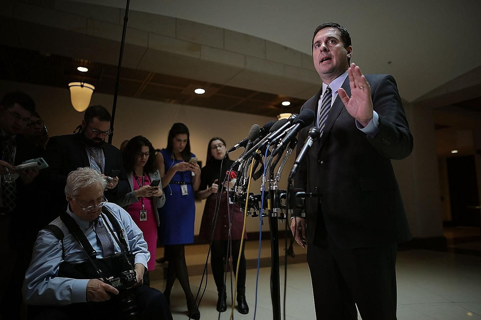 Mr Devin Nunes at a press conference last Friday. He met a source on White House grounds to view secret reports, but said it was the most convenient secure location with a computer linked to the system with the reports.
