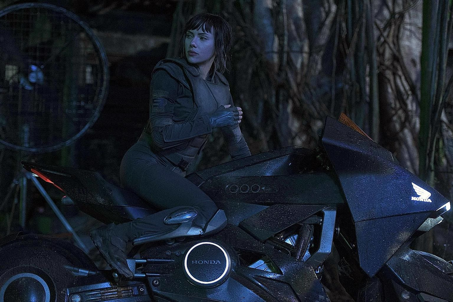 Scarlett Johansson plays a special ops human- cyborg hybrid in Ghost In The Shell.