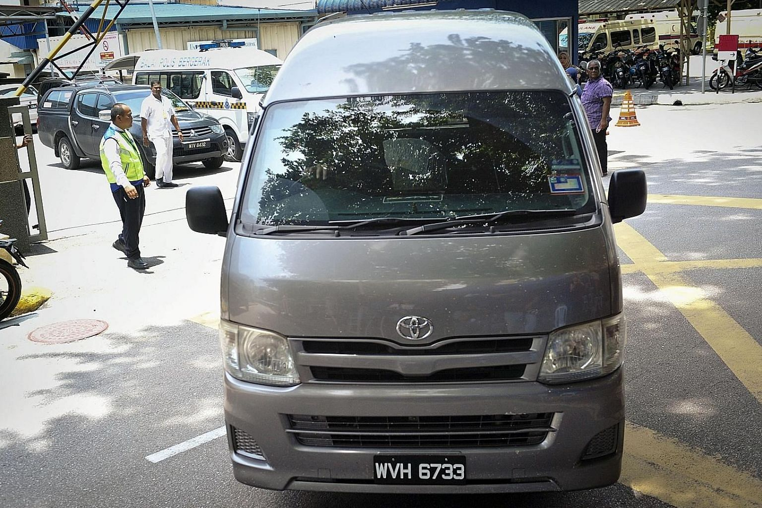 "A van said to be carrying the body of Mr Kim Jong Nam leaving a hospital compound in Kuala Lumpur yesterday. The body was sent back to North Korea after the ""receipt of a letter from his family requesting the remains be returned"" there, said Mr Najib"