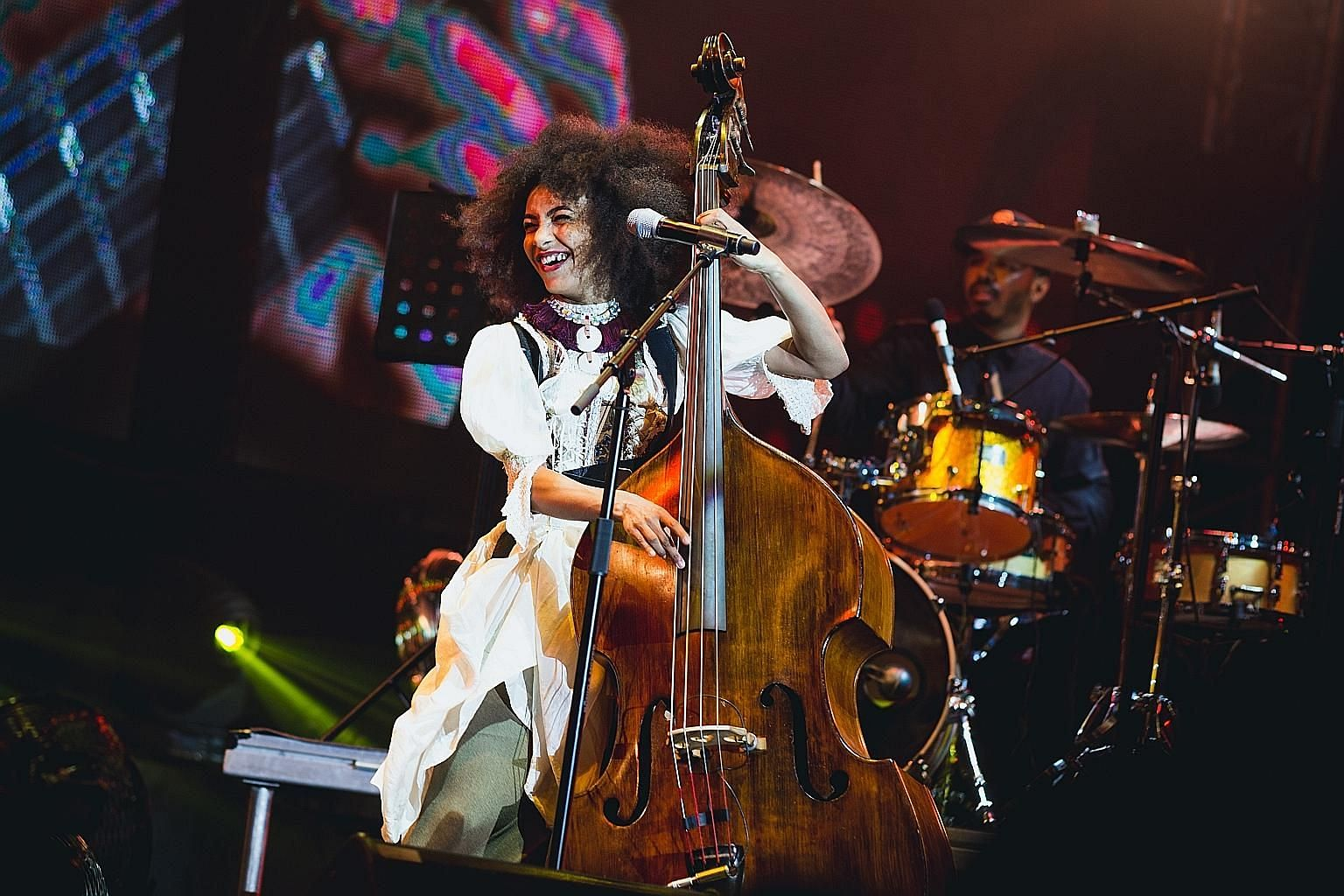 American multi- instrumentalist Esperanza Spalding (above) displayed dazzling virtuosity, while Senegalese singer Youssou N'Dour gave a fretless feel to his prayerful performance with shades of reggae.