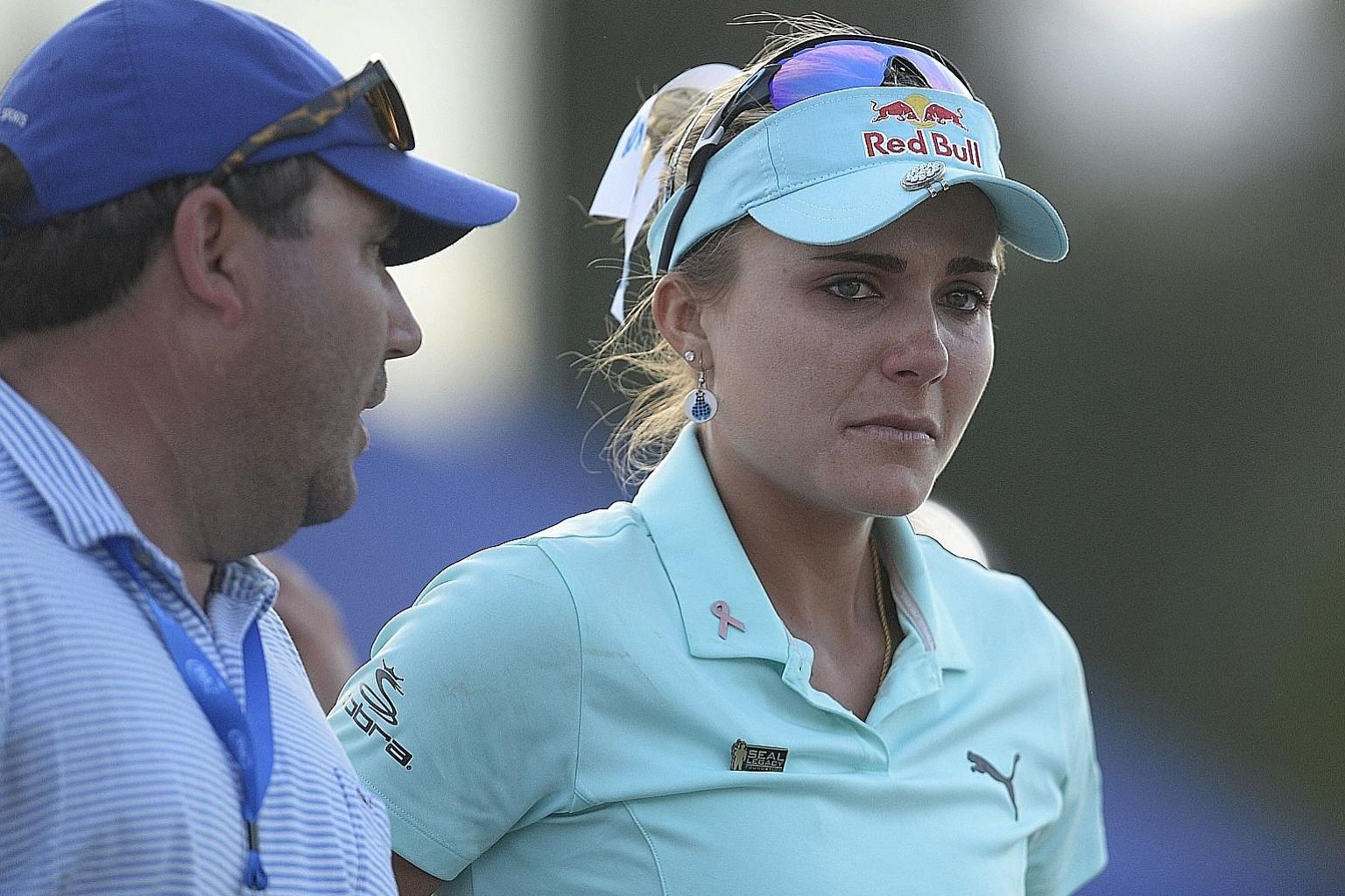 A distraught Lexi Thompson after her play-off loss to Ryu So Yeon in the ANA Inspiration. She was penalised two shots for misplacement and two more for signing a wrong scorecard.