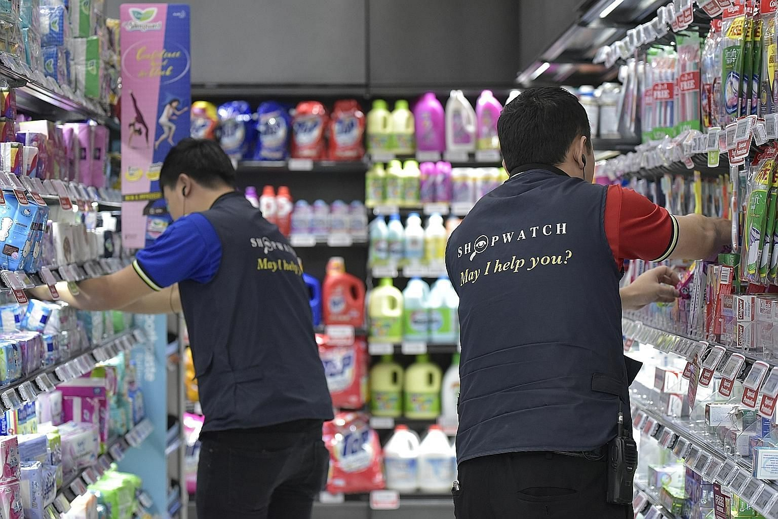 "At Sheng Siong supermarkets, employees trained to identify possible shoplifters wear vests printed with the words ""ShopWatch. May I help you?"" The initiative, a partnership with the police, has helped to reduce thefts by 20 per cent over the last two"