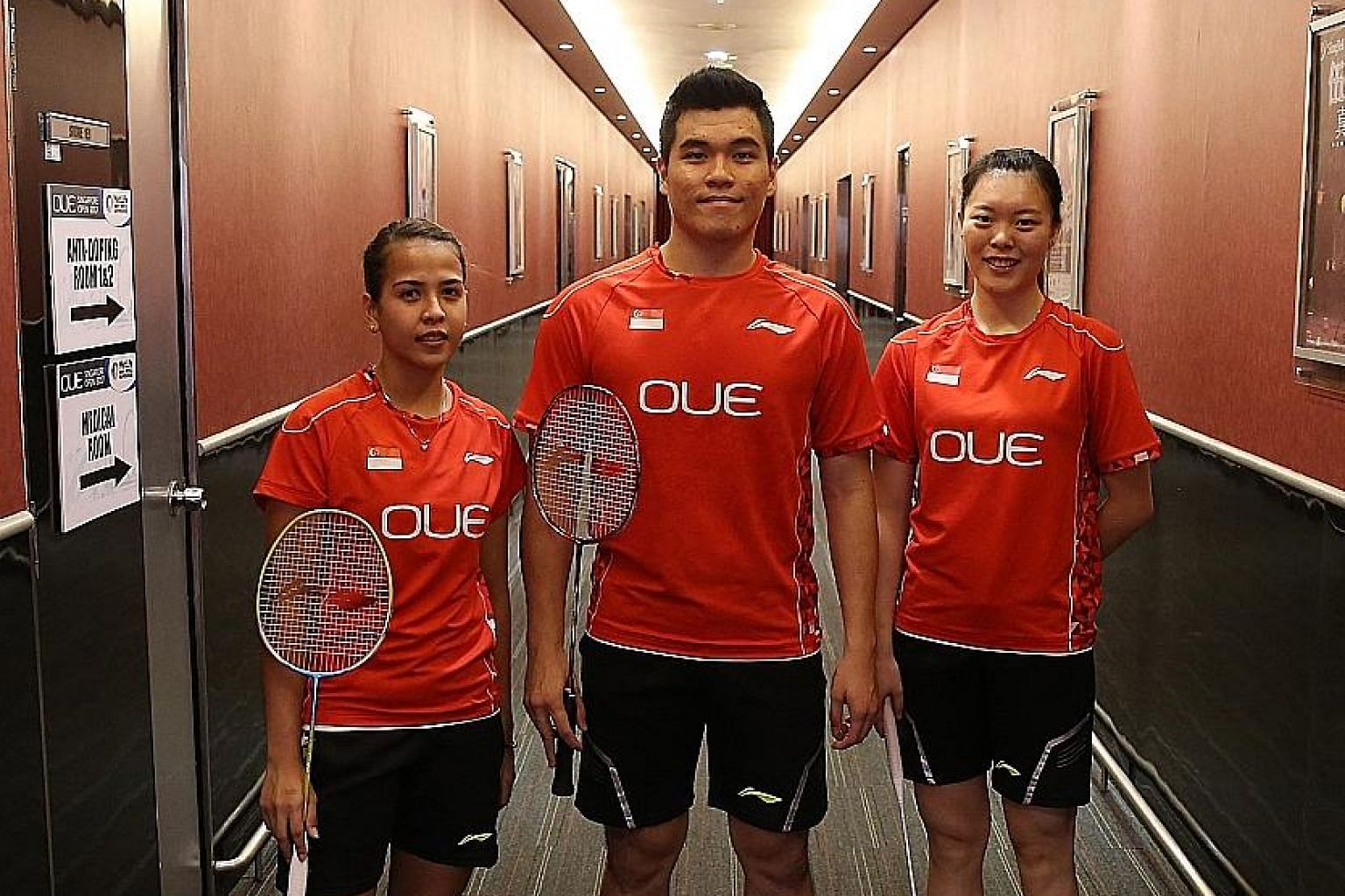 (From left) Doubles badminton players Citra Putri Sari Dewi, Bimo Adi Prakoso and Jin Yujia all came to Singapore not via the Foreign Sports Talent scheme but to study first, before playing full-time.