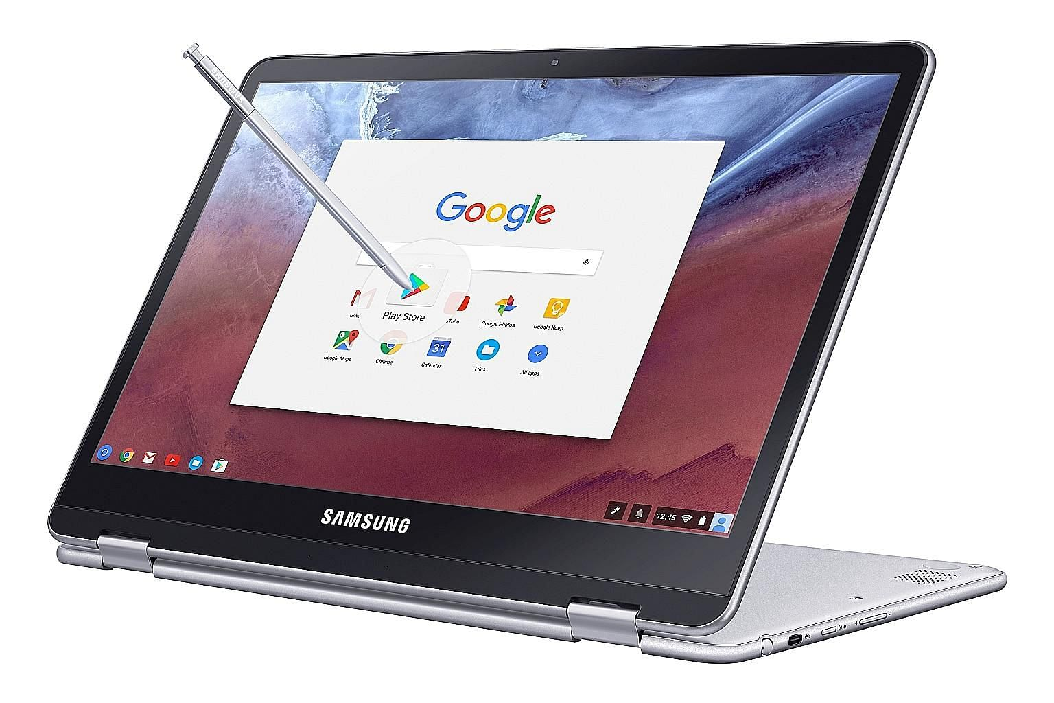 A stylus menu pops up when you eject the stylus from the side of the Samsung Chromebook Plus.
