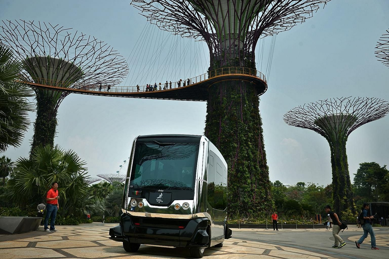 A demonstration of the Auto Rider driverless vehicle at Gardens by the Bay during an autonomous vehicle (AV) trial in 2015. The development of AV deployment is speeding up in Singapore, with trials already in progress on dedicated public roads, inclu