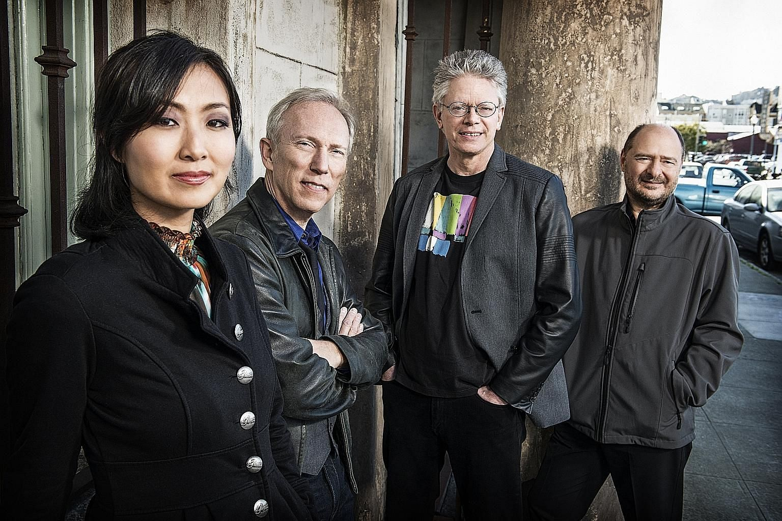 American string ensemble Kronos Quartet, comprising (from far left) Sunny Yang, Hank Dutt, David Harrington and John Sherba, will give their new work My Lai its Asia-Pacific premiere during the festival.