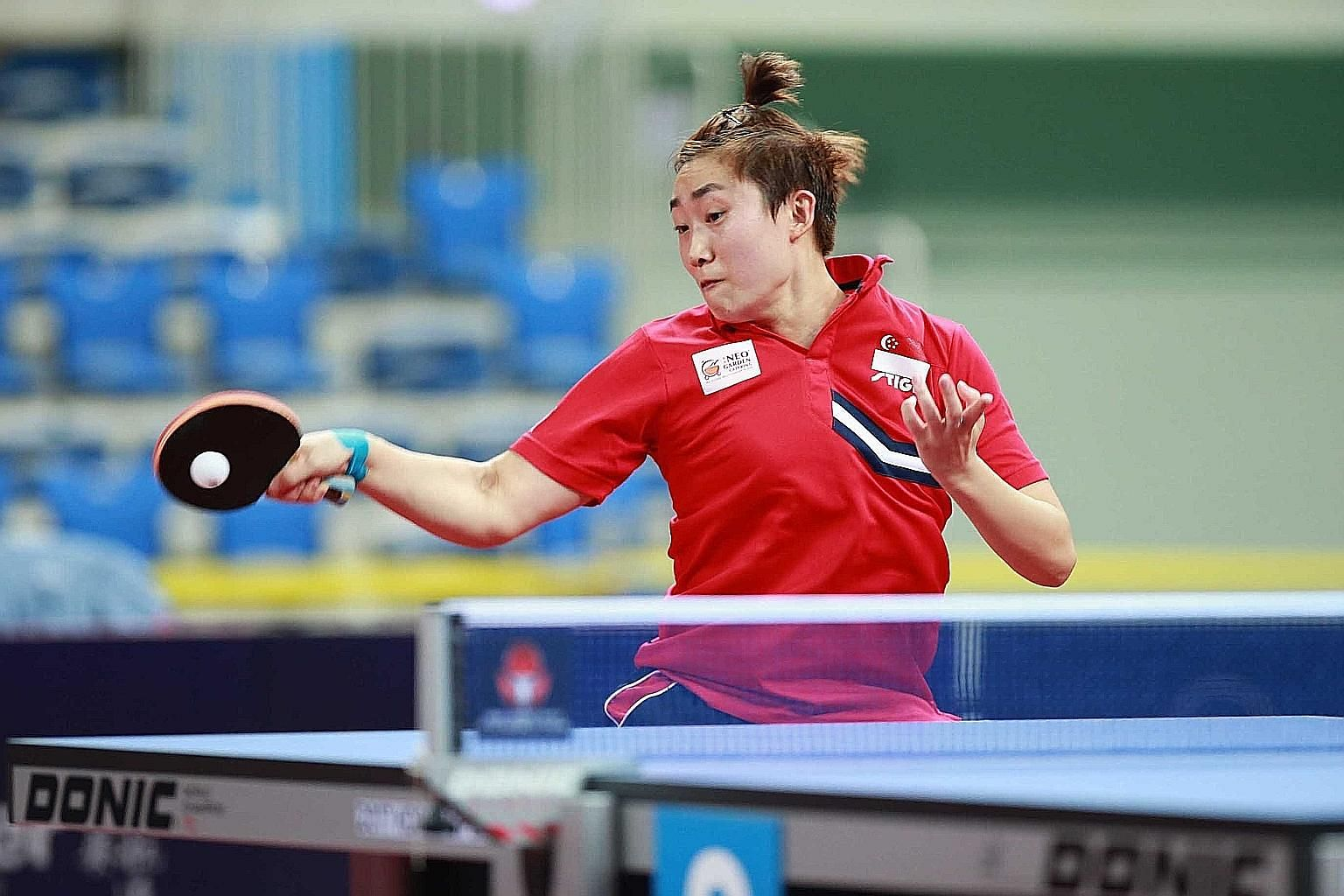 Singapore's world No. 3 Feng Tianwei in action during her win over Chinese Taipei's Chen Szu-yu in the semi-finals. She will take on fourth-ranked Kasumi Ishikawa in today's final in which she is aiming for a third Korea Open title.