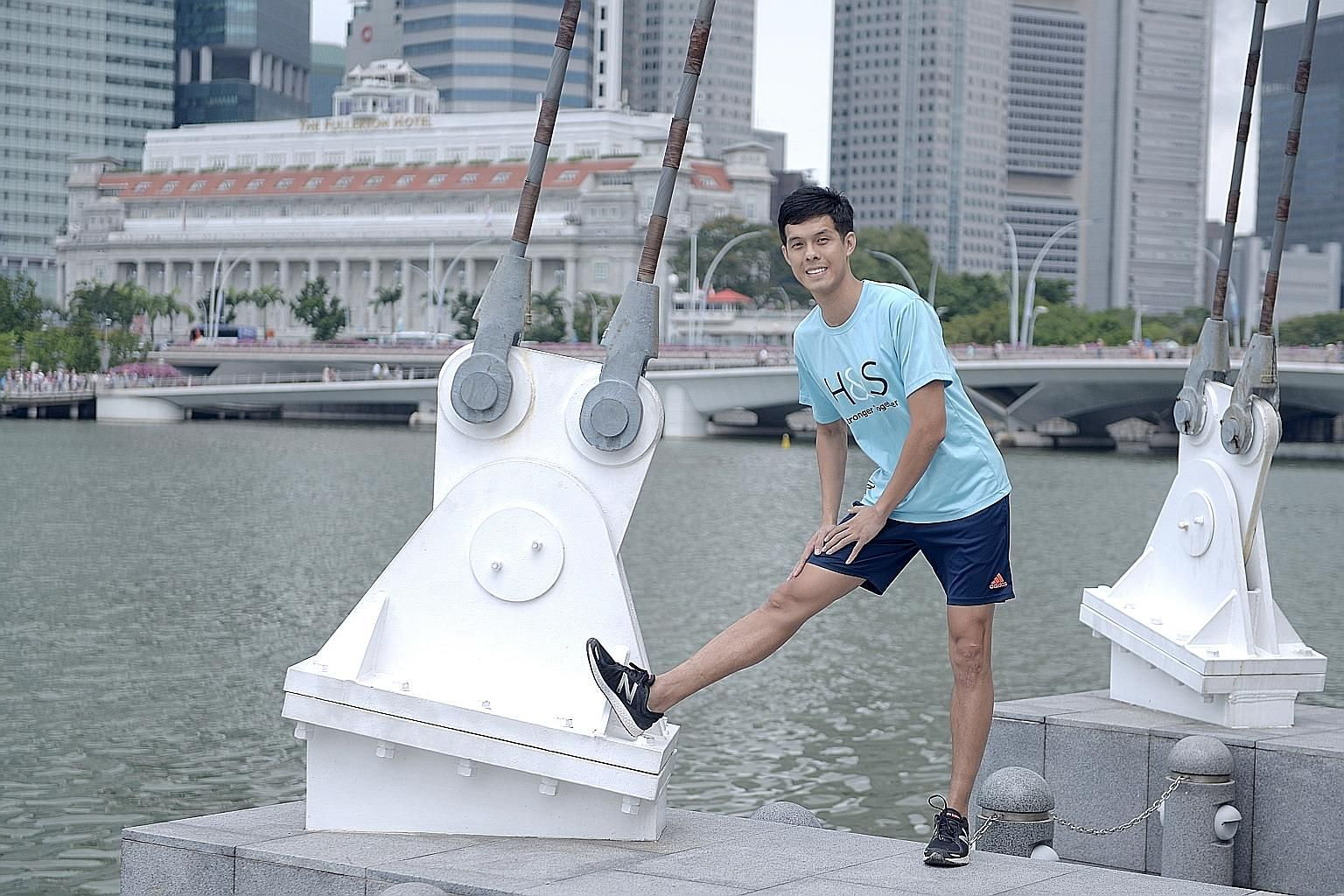 Mr Fabian Tan keeps up with his fitness routine as exercise gives him positive energy.
