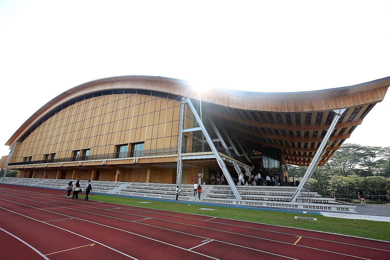 The Wave, NTU's new sports hall, is made mostly of mass engineered timber. The prefabrication of parts led to speedier construction and yielded a 25 per cent savings in labour.