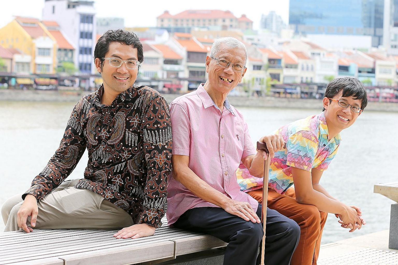 (From left) Javanese-language representative Haider Sahle, Kristang representative Bernard Mesenas and event organiser Kevin Martens Wong hope to get participants interested in Singapore's linguistic diversity through activities such as language puzz