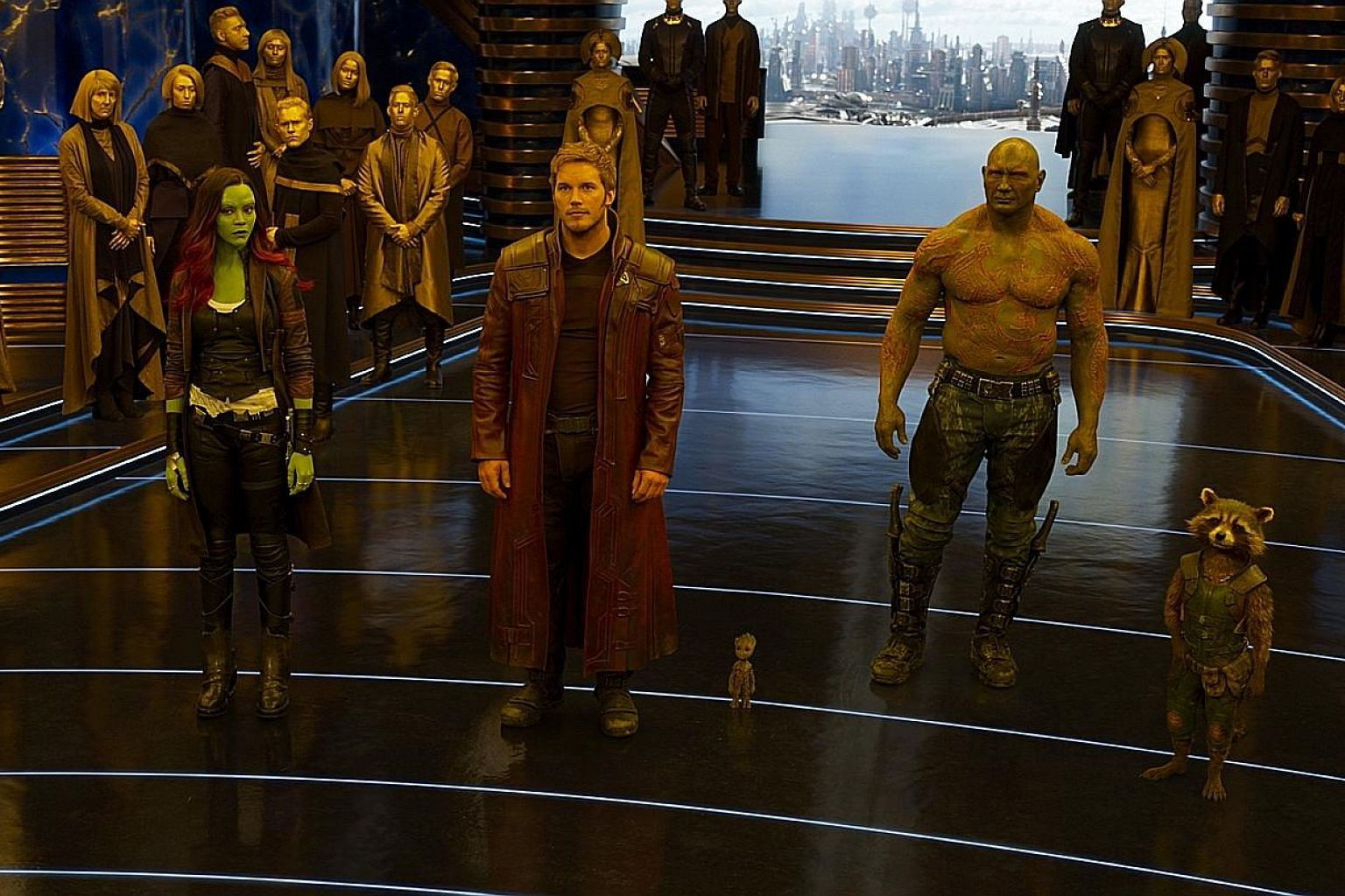 (From left) Warrior Gamora (Zoe Saldana), half-human, half-alien Quill (Chris Pratt), sentient plant Groot (voiced by Vin Diesel), convict Drax (Dave Bautista) and Rocket (voiced by Bradley Cooper) in Guardians Of The Galaxy Vol. 2.