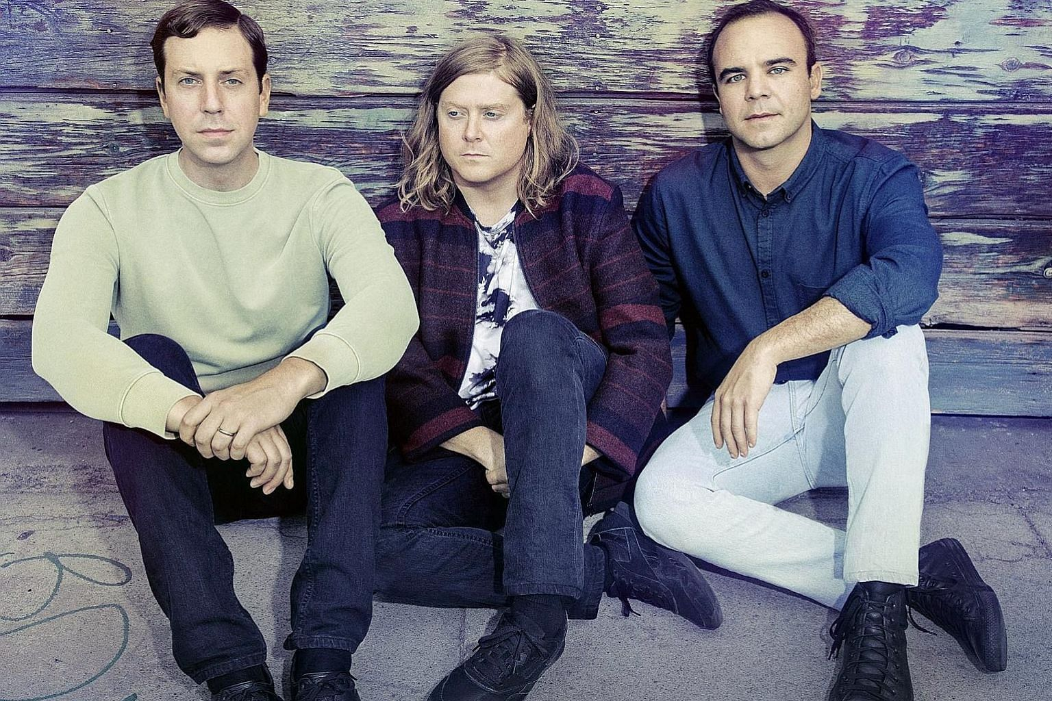 American synth-pop band Future Islands comprise (from left) Gerrit Welmers, William Cashion and Samuel T. Herring.