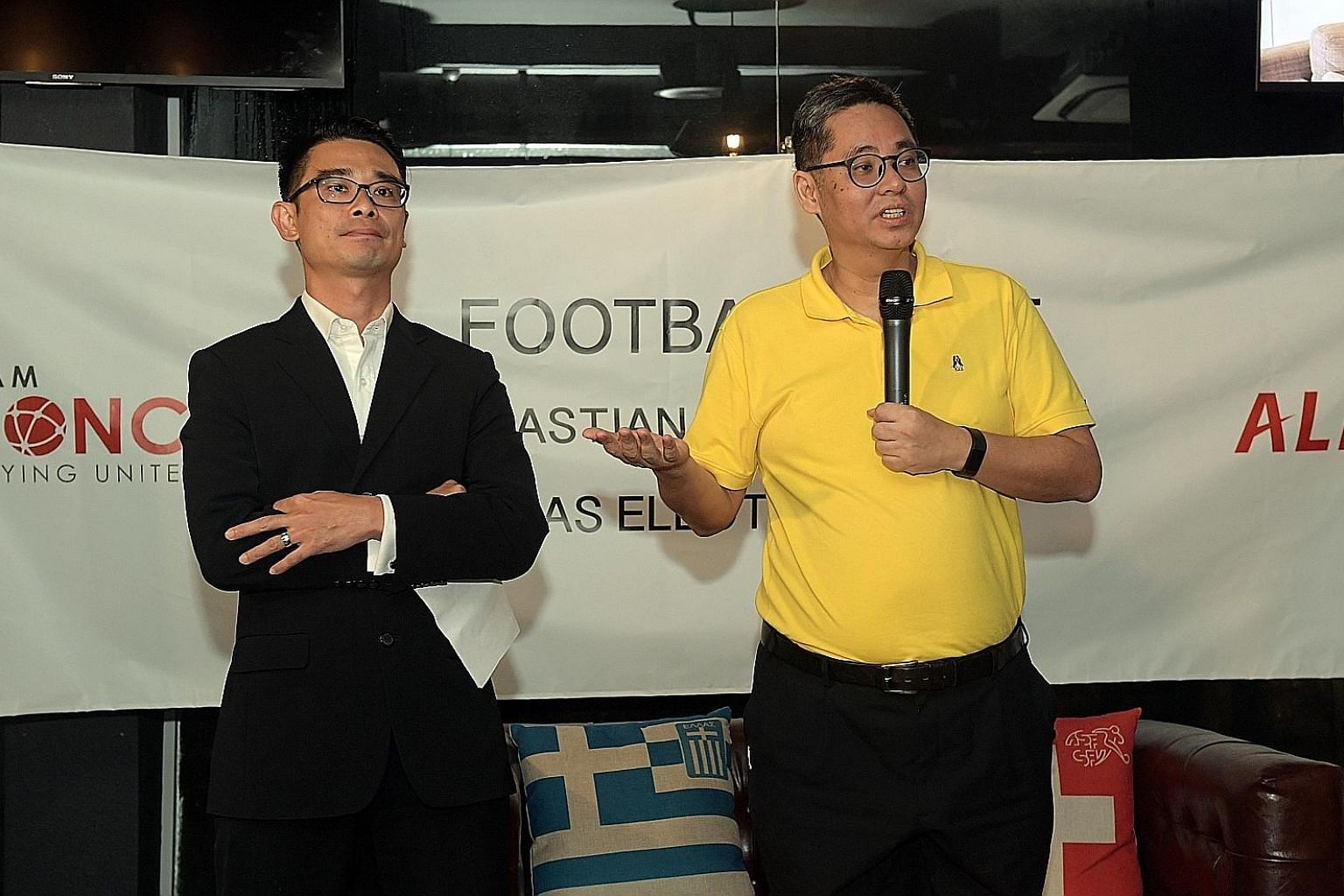 Individual candidates Sebastian Tan (left) and James Lim at a press conference yesterday, where they outlined their plans to improve Singapore football, should they be elected to the council at Saturday's FAS polls.