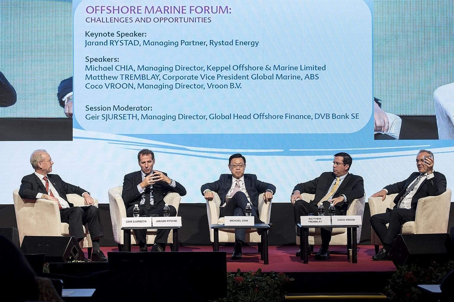 (From left) Mr Geir Sjurseth, managing director and global head offshore finance at DVB Bank, with Rystad Energy managing partner Jarand Rystad, Keppel Offshore & Marine managing director Michael Chia, ABS corporate vice-president for global marine M