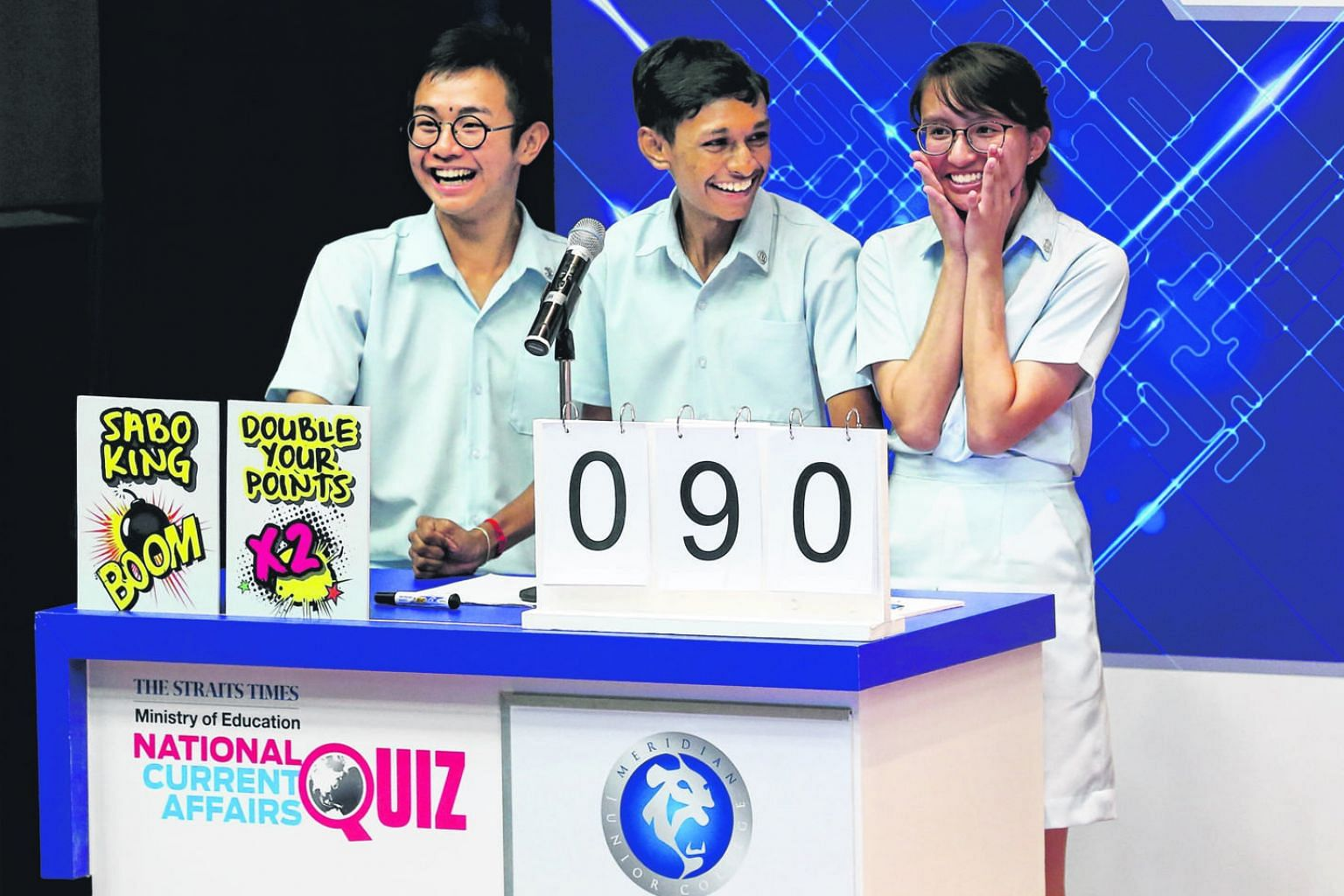 The Meridian Junior College team, comprising (from left) Tan Yu, Jev Akshay and Nadia Liana, beat the second-placed Temasek JC team by just 10 points in Wednesday's competition.