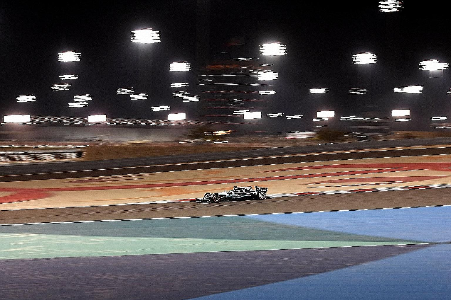 Mercedes driver Lewis Hamilton competing during qualifying for the Bahrain Grand Prix. He was second after a DRS issue.