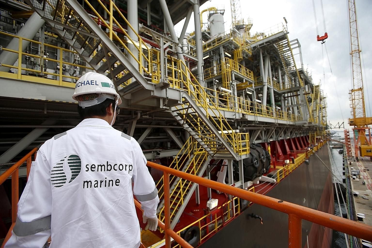A floating production, storage and offloading vessel in Jurong Shipyard. Sembcorp Marine noted that oil prices are more stable, and global exploration and production spending is expected to rise this year.