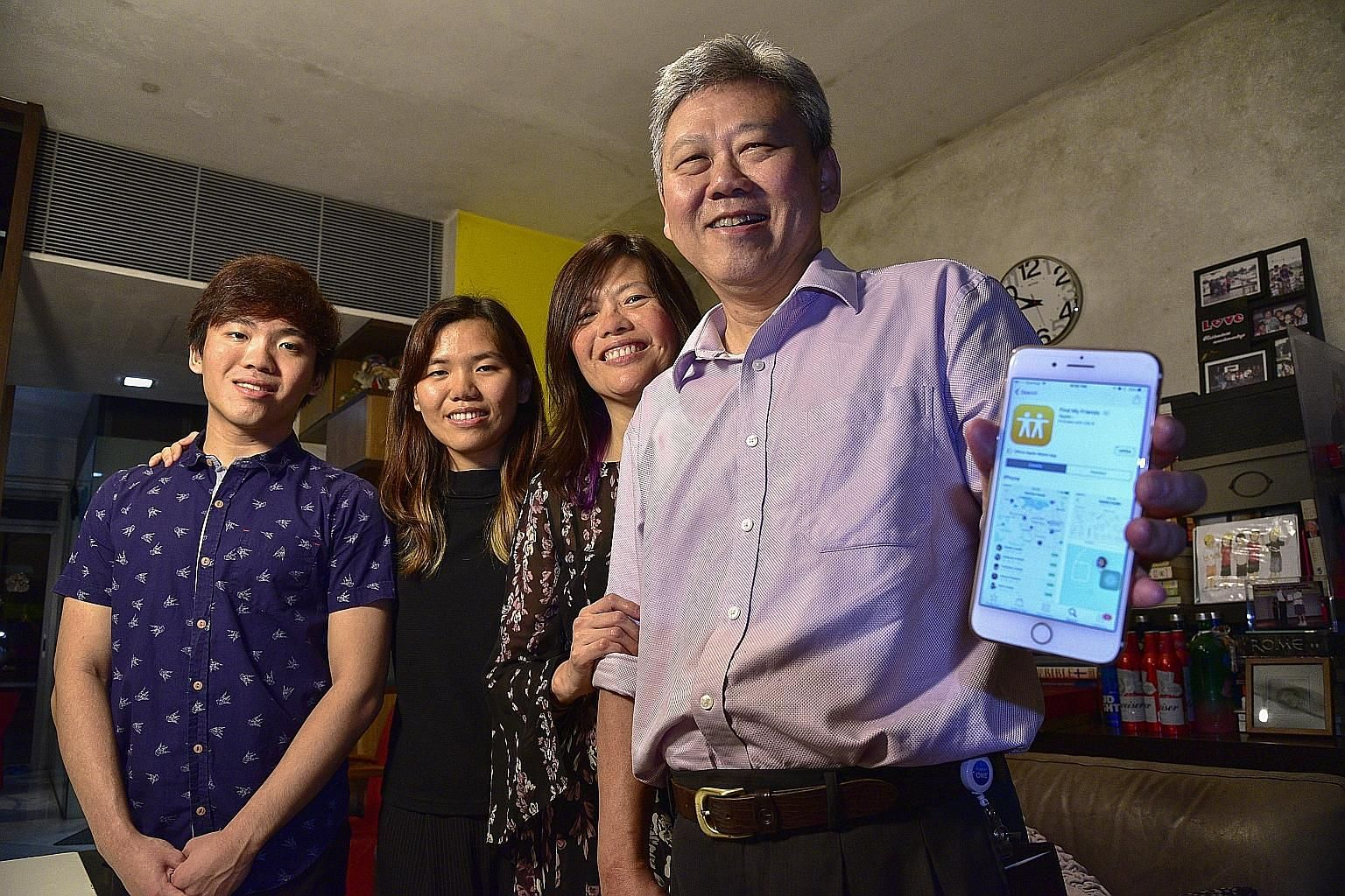 Undergraduate Ranice Lim uses the Find My Friends app to see where her boyfriend Darrin Loh is when they are going to meet. Mr Francis Lam and his wife Yap Wai Leng use tracking app Find My Friends to locate their three children, including son Thomas