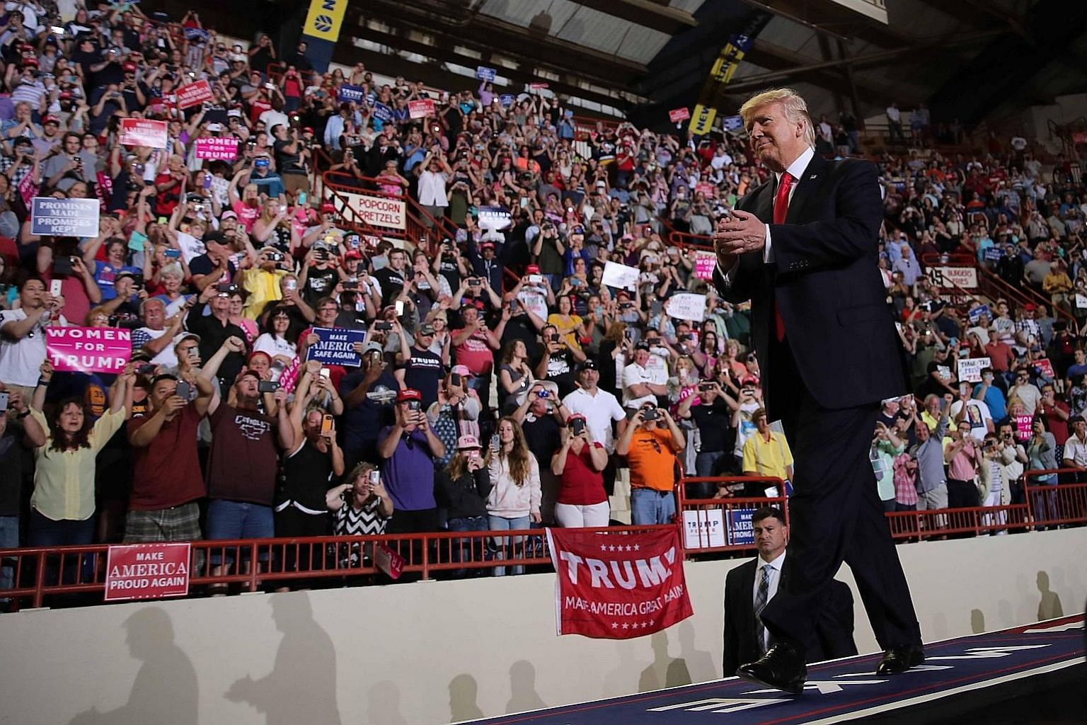 US President Donald Trump at a rally marking his first 100 days in office in Harrisburg, Pennsylvania. As of his first 100 days, Mr Trump's Gallup rating has already sunk to below 40 per cent whereas former president Barack Obama's was at 62 per cent