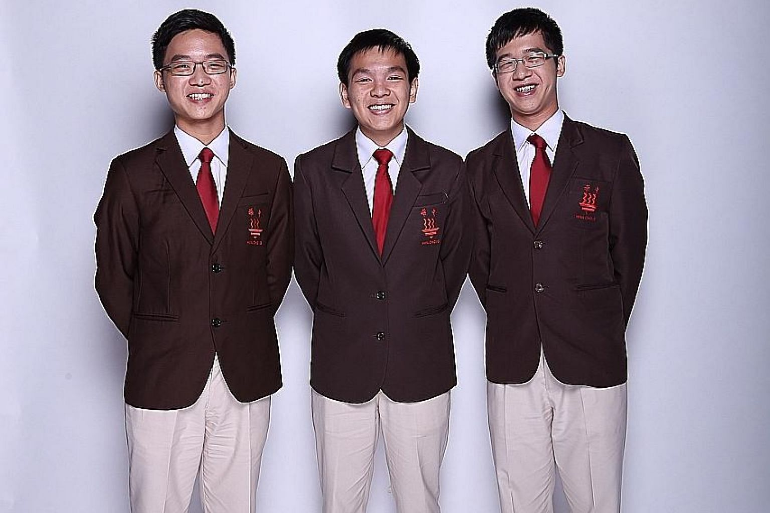 Hwa Chong Institution student Dominic Yap, flanked by his teammates Bryan Lim (left) and Shawn Lim, was picked as one of eight finalists for the A*Star Talent Search, eventually receiving a Special Commendation. The team picked up a gold award from t