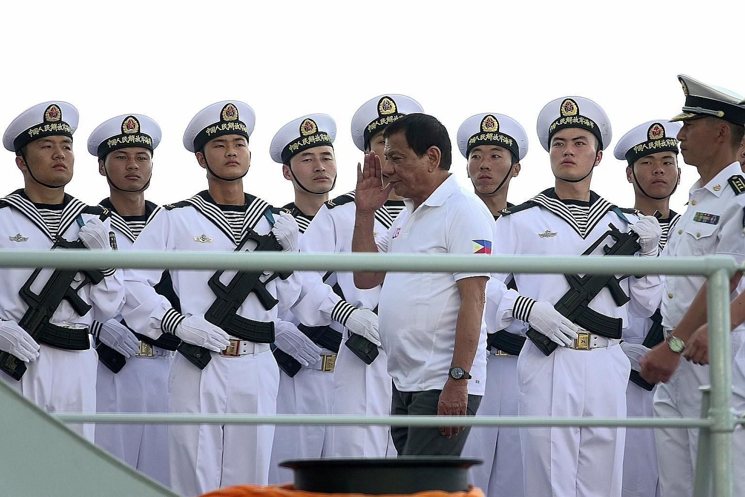"Philippine President Rodrigo Duterte on one of the three Chinese naval vessels in Davao City yesterday. The visit ""is part of confidence-building and goodwill"", he said."