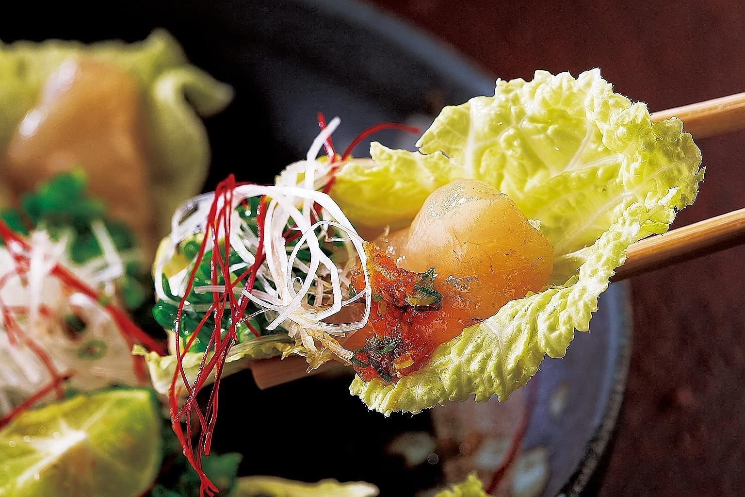 Tender pieces of fish in Thick Sliced Puffer Fish Sashimi. Order the Deep Fried Puffer Fish to supplement your main course.