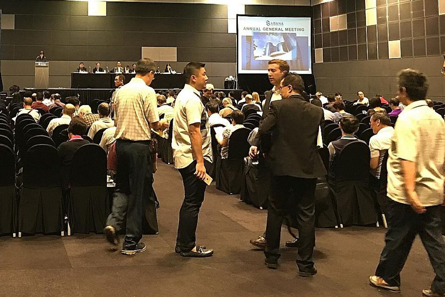 Investors at Sabana Reit's EGM, convened on April 28 to vote on whether to remove the Reit manager. Issues raised at the meeting highlight the limited recourse that unit holders have when their investment does not perform as expected. Among other obs