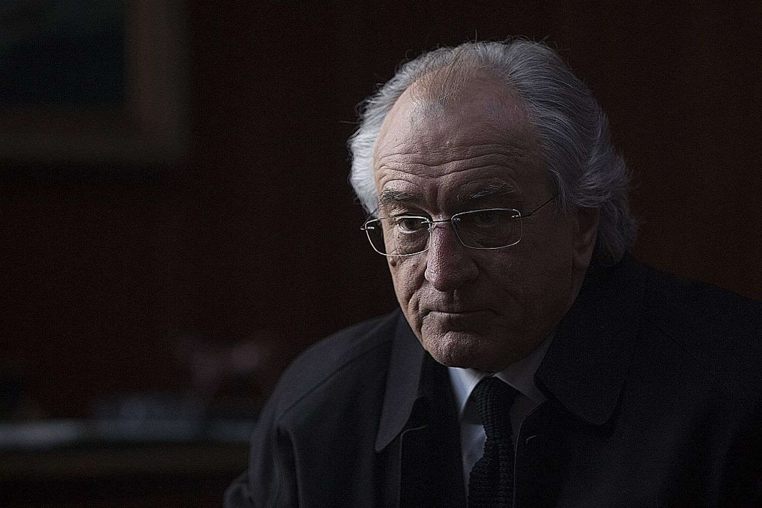 Robert de Niro as Bernie Madoff in the television movie The Wizard Of Lies.