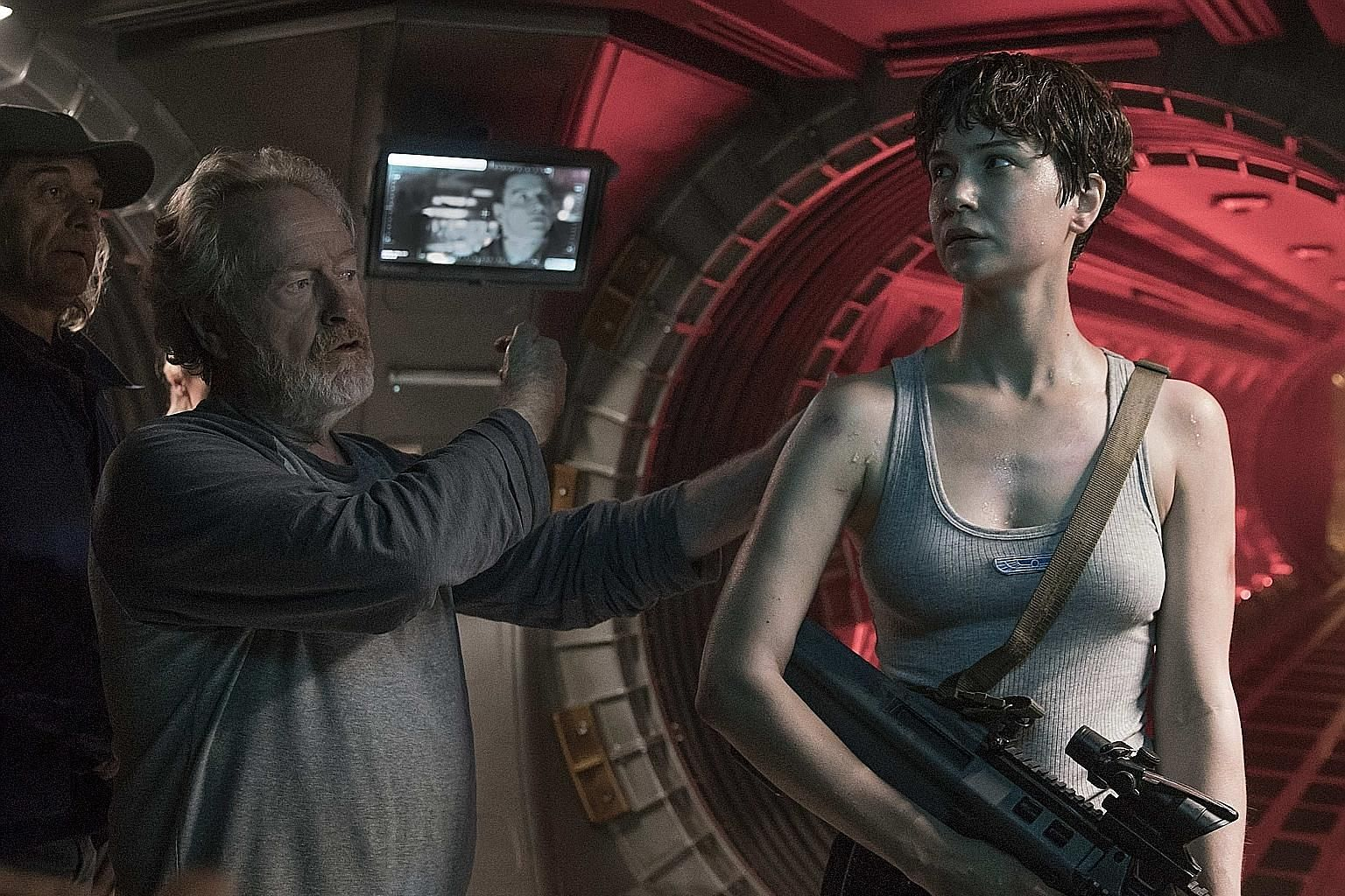 Director Ridley Scott with Katherine Waterston, who plays crew member Daniels in Alien: Covenant.