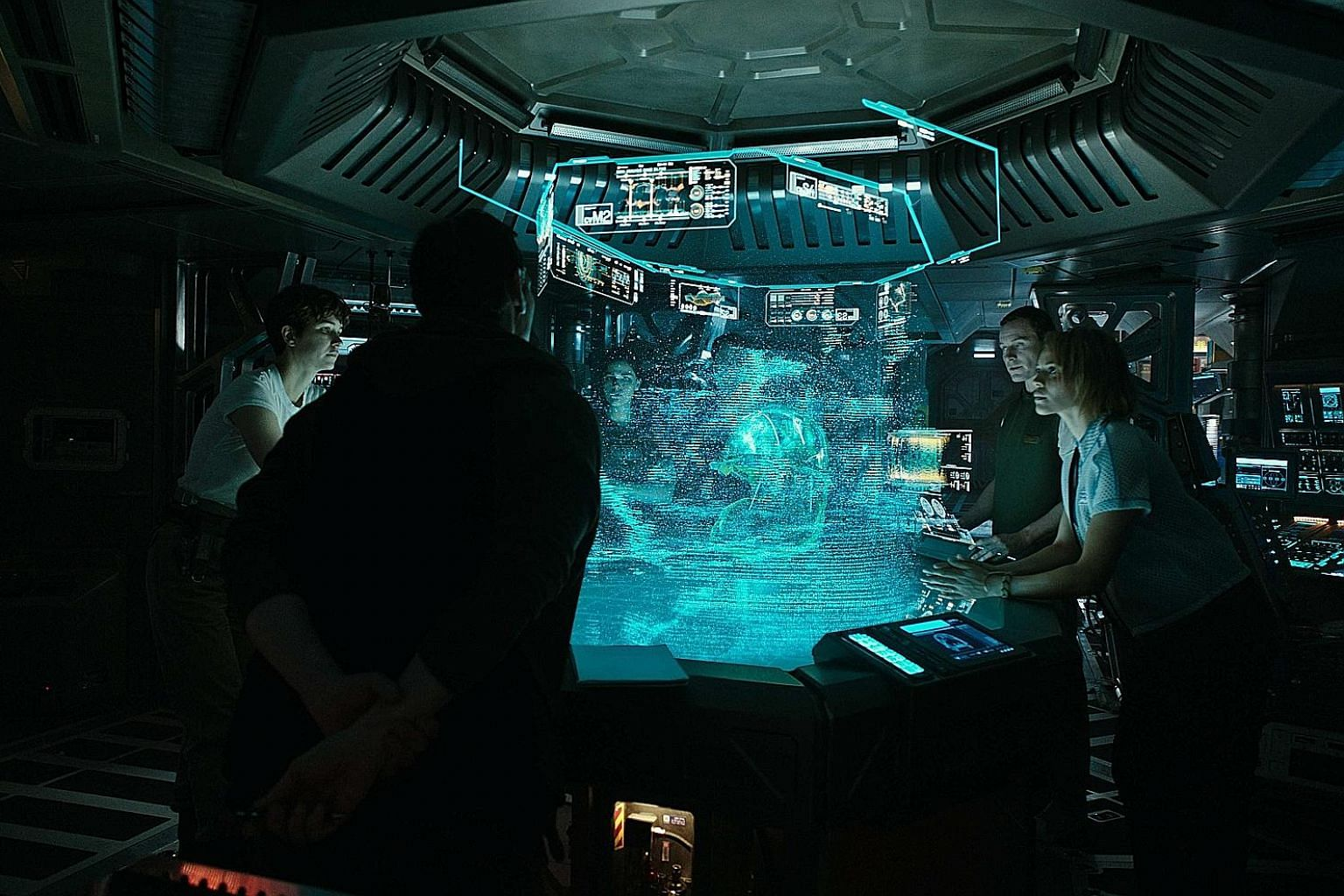 (From far left) Katherine Waterston, Michael Fassbender and Carmen Ejogo in Alien: Covenant.
