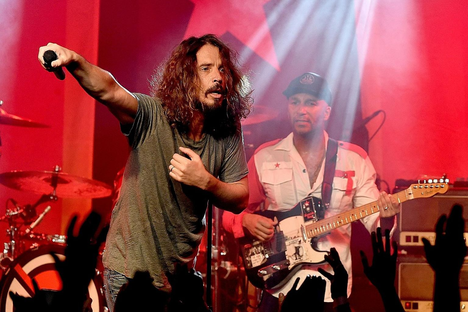 Chris Cornell performing at the Prophets of Rage and Friends Anti-Inaugural Ball in California in January.