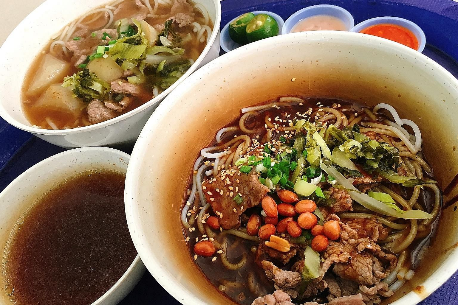 The Beef Noodle Soup and Beef Noodle Dry at Mr Wong Seremban Beef Noodles are no more than 500 calories each.
