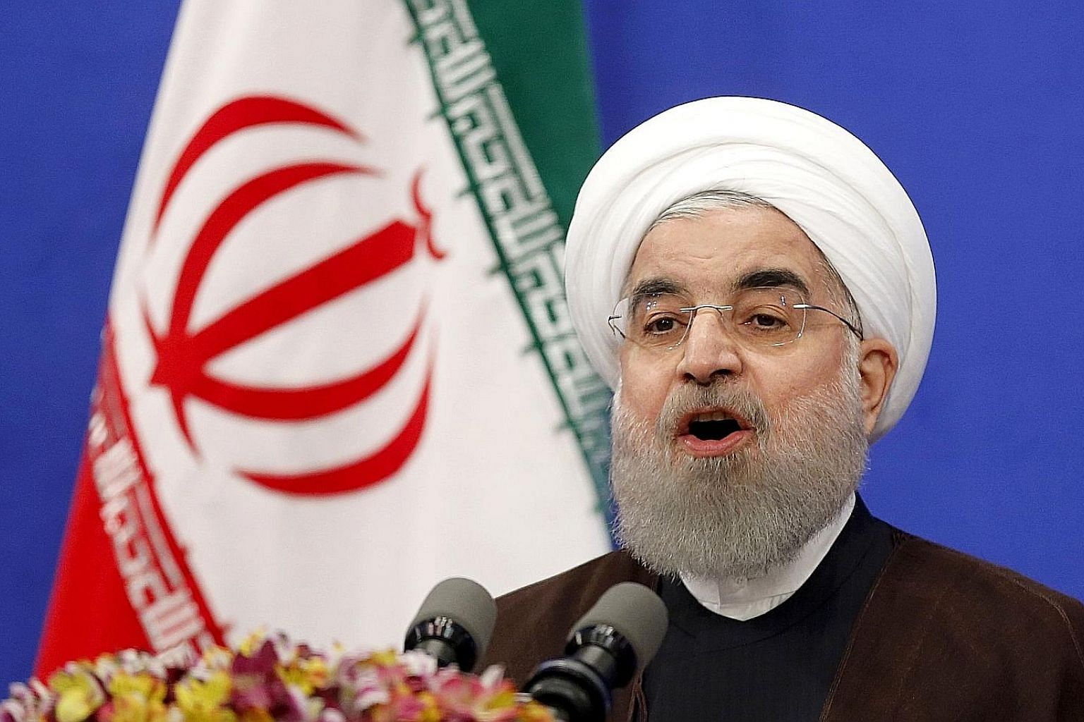 President Hassan Rouhani delivering a televised speech in Teheran yesterday following his re-election. He said the vote showed that Iranians have rejected calls by his hardline opponents to stop reforms.