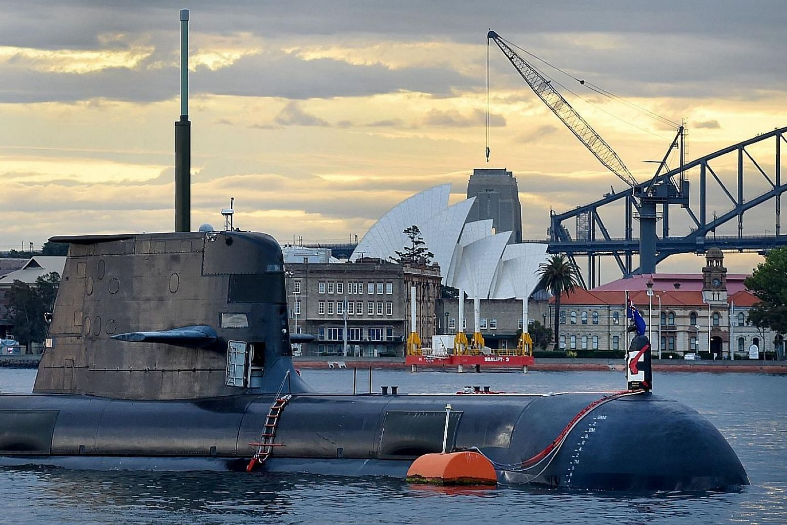 A Royal Australian Navy submarine in Sydney Harbour. Australia's naval shipbuilding plan unveiled last week marks the biggest boost to the navy since World War II.