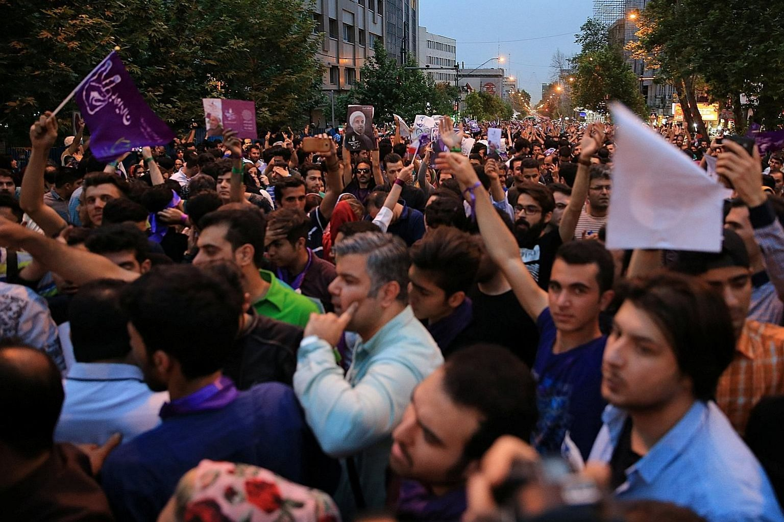 Supporters of Iranian President Hassan Rouhani took to the streets of Teheran last Saturday to celebrate his victory. The cleric, who was first elected in 2013, won 57 per cent of the vote in the presidential election last Friday.