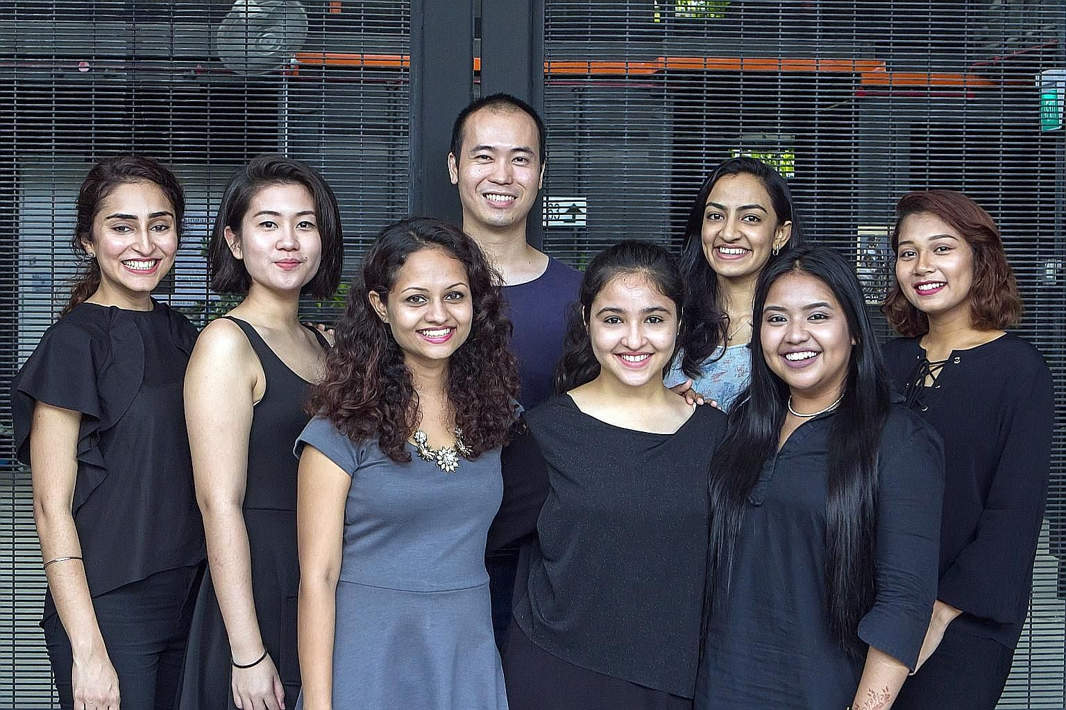 Members of the Young Storytellers Mentorship Project (from far left) Jurveen Randhawa, Phoebe Lim, Aswani Aswath, Jason Yee, Gauraangi Chopra, Suchithra Raman, Suharti Suhaimi and Farah Nurhazlinda. They were mentored by professional storyteller Kamini Ra