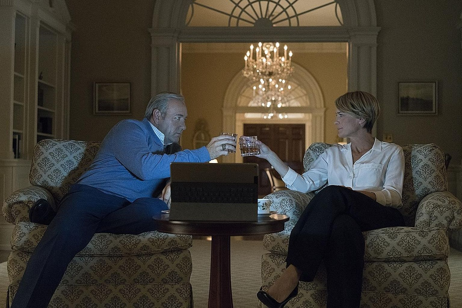 Kevin Spacey and Robin Wright play power-hungry couple Frank and Claire Underwood in House Of Cards.