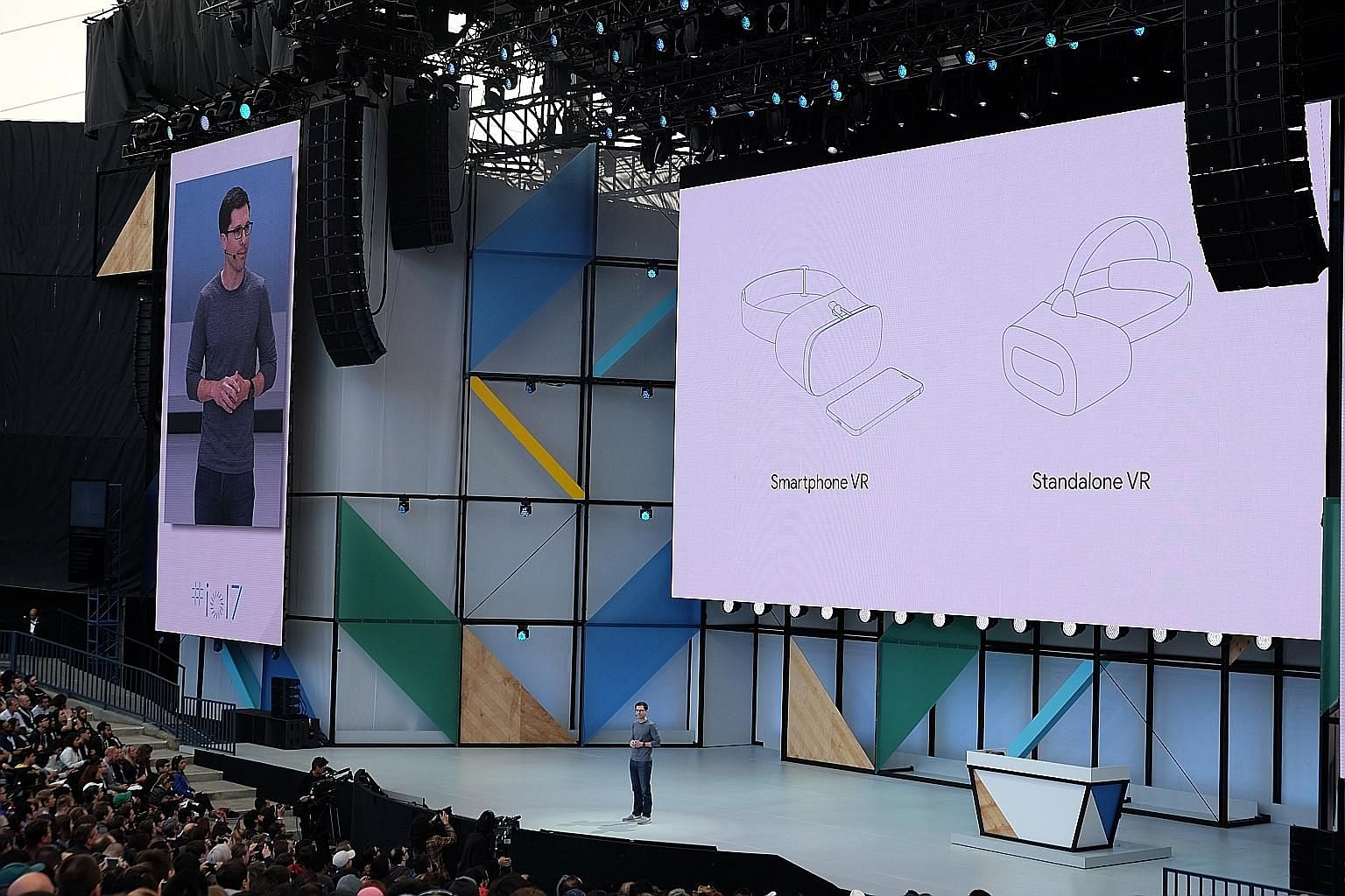 Google's vice-president of virtual and augmented reality, Mr Clay Bavor, announcing the new standalone VR headset at the Google I/O 2017 developer conference last week.
