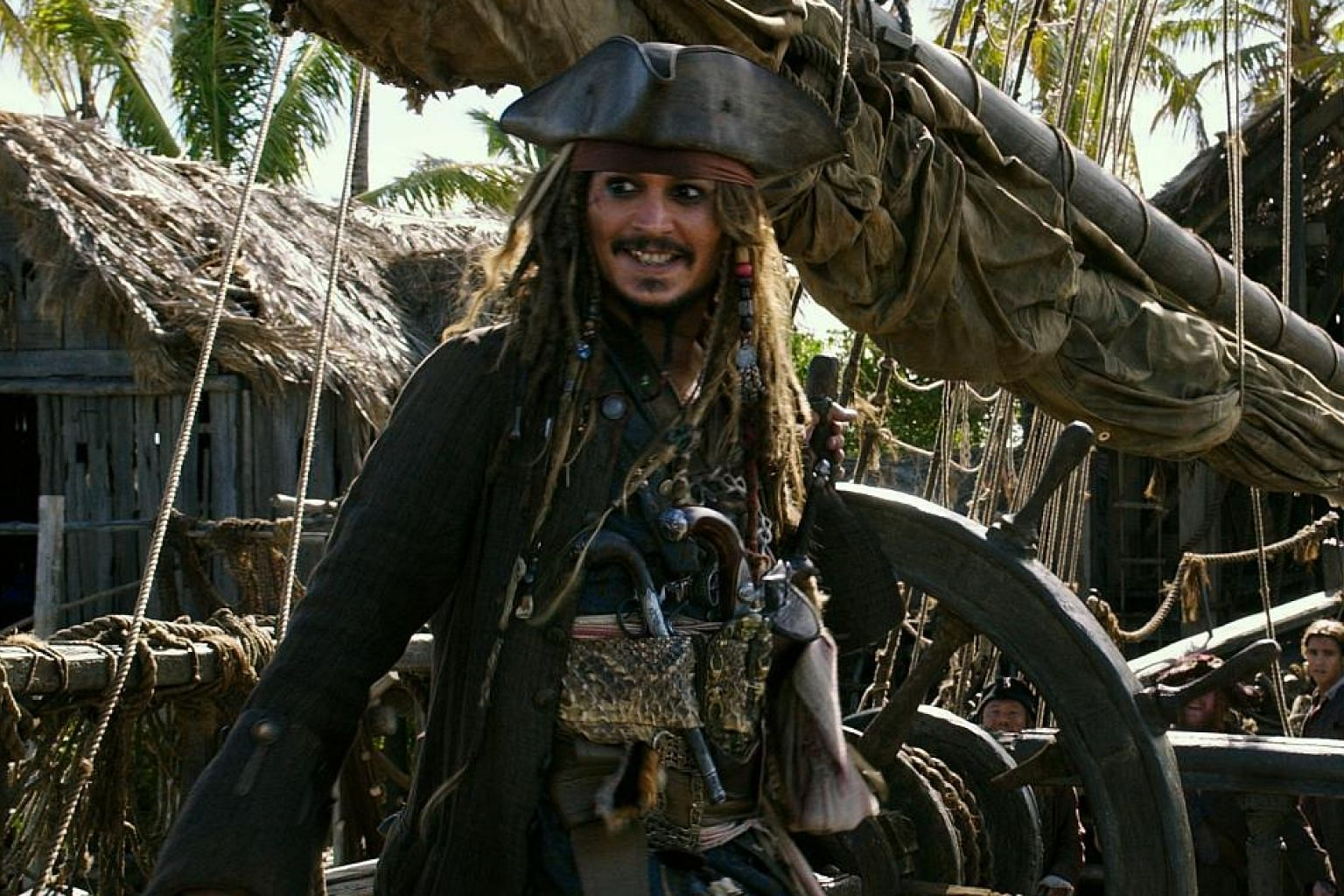Johnny Depp in Pirates Of The Caribbean 5: Salazar's Revenge. The film is marked by a large action setpiece every 10 minutes and packed with ghostly visual effects.