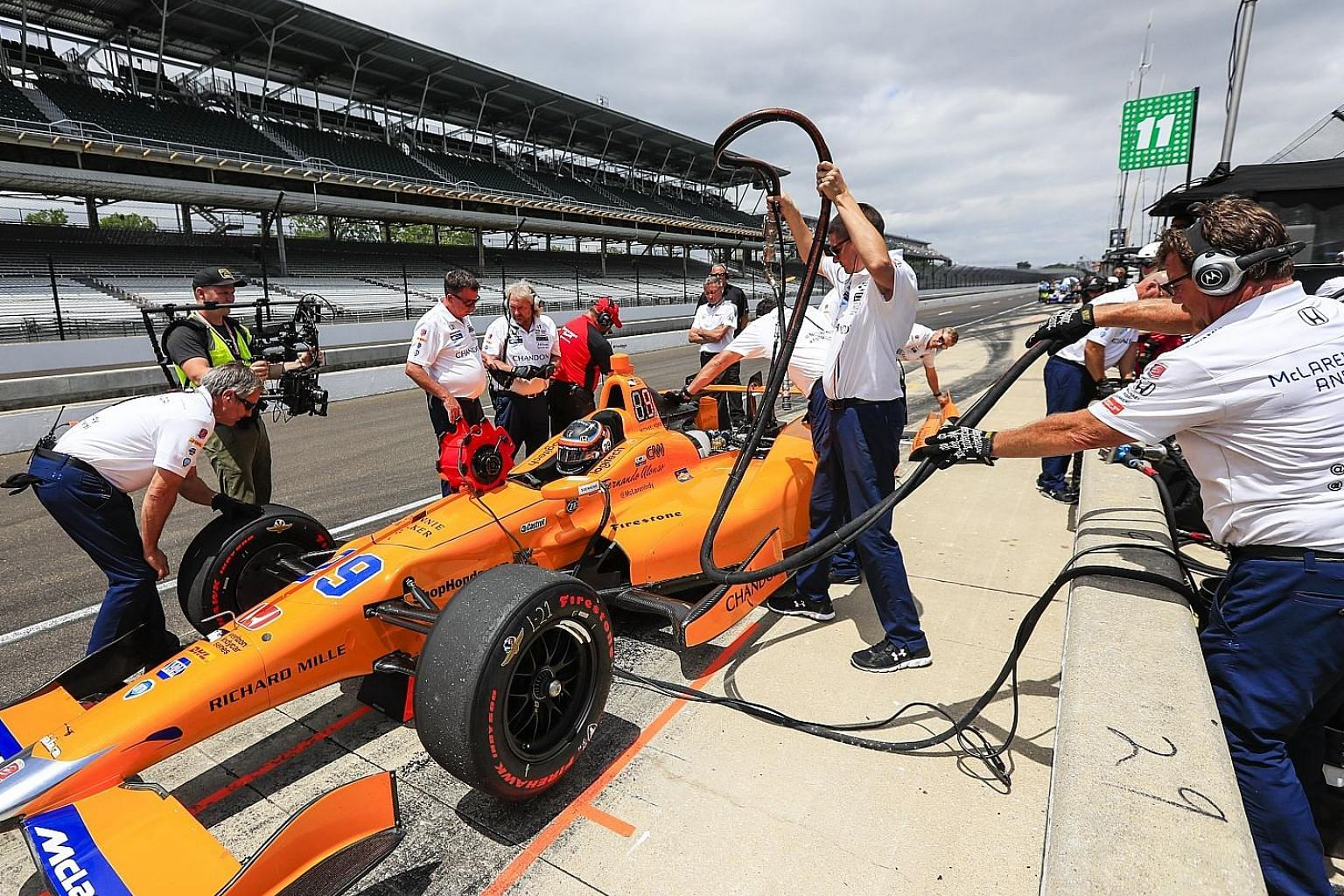 Pit crew working on Fernando Alonso's Andretti Autosport car during qualifying for Sunday's Indianapolis 500.